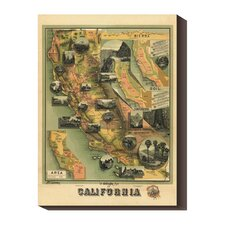 <strong>Bentley Global Arts</strong> 'The Unique Map of California, 1885' by E. McD. Johnstone Stretched Canvas Art