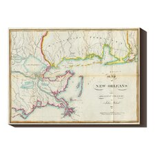 'Map of New Orleans and Adjacent Country, 1815' by John Melish Graphic Art on Canvas