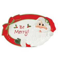 Holiday Cheer Santa Sentiment Oval Serving Tray