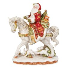 Damask Holiday Santa On Horse Figurine