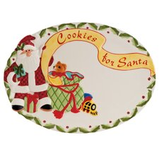 "Santa's Big Day 13.25"" Oval Cookie Platter"