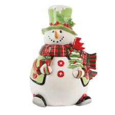 Holly Hat Snowman Cookie Jar