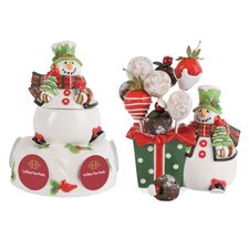 <strong>Fitz and Floyd</strong> 2 Piece Holly Hat Snowman Serving Set