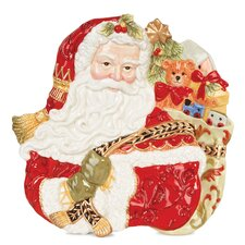 "<strong>Fitz and Floyd</strong> Damask Holiday Santa Face Canape 12"" Plate"