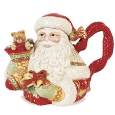 Damask Holiday Santa Teapot