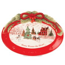 "Home Warms The Heart 13"" Oval Cookie Platter"