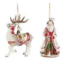 2 Piece Winter White Holiday Ornament Set