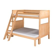 Twin Over Full Bunk Bed with Angle Ladder and Panel Headboard