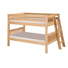 Low Bunk Bed with Lateral Angle Ladder and Mission Headboard