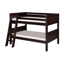 Low Bunk Bed with Angle Ladder and Panel Headboard