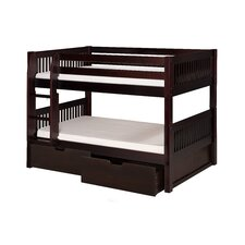 Low Bunk Bed with Drawers and Mission Headboard