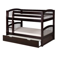 Low Bunk Bed with Trundle and Arch Spindle Headboard