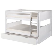 Full over Full Low Bunk Bed with Trundle and Panel Headboard