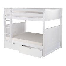 Full over Full Bunk Bed with Drawers and Panel Headboard