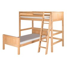 Twin Over Twin L-Shape Loft Bed with Panel Headboard