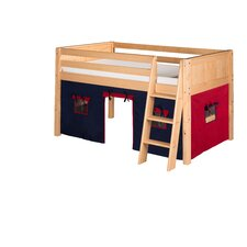 Low Loft Playhouse Bed with Panel Headboard