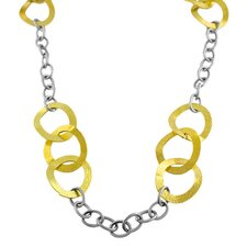 Yellow Gold Over Stainless Steel Wavy Link Necklace