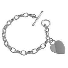 Cable Link Heart Charm Toggle Bracelet