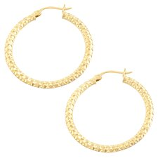 Diamond Cut Flat Hoop Earrings