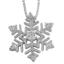 Rhodium plated Sterling Silver Cubic Zirconia Snowflake Necklace