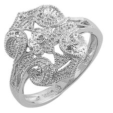 <strong>Fremada Jewelry</strong> Vintage Look Silver .03 Carat Diamond Ring