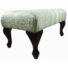 Classic Floral Print Tufted Bench Ottoman with Carved Leg
