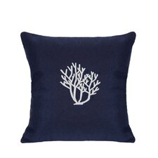 Sunbrella Lumbar Pillow With Embroidered Coral