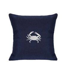 Sunbrella Lumbar Pillow With Embroidered Crab