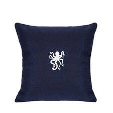 Sunbrella Lumbar Pillow With Embroidered Octopus
