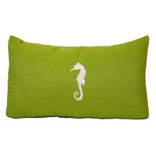 Seahorse Embroidered Sunbrella Fabric Beach Pillow
