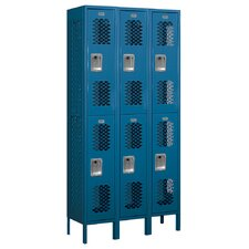 Unassembled Double Tier 3 Wide Vented Locker