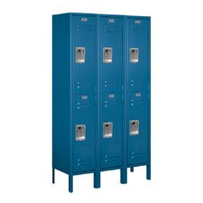 Unassembled Double Tier 3 Wide Standard Locker