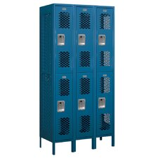 Assembled Double Tier 3 Wide Vented Locker