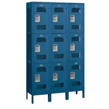 Unassembled Extra Wide Vented Triple Tier 3 Wide Locker