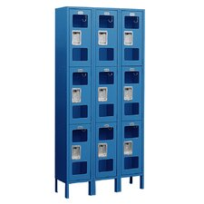 Assembled See-Through Triple Tier 3 Wide Locker
