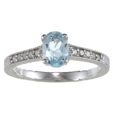 Sterling Silver Genuine Oval Cut Gemstone and Diamond Ring
