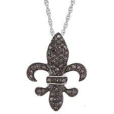 Sterling Silver Diamond Fleur De Lis Pendant
