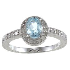 Sterling Silver Genuine Oval Cut Gemstone Diamond Ring