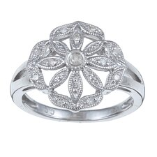 Sterling Silver Pave Set Diamond Flower Ring