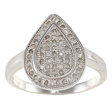 Sterling Silver Pear Shaped Pave Set Diamond Ring