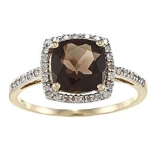Gold Cushion Cut Gemstone and Diamond Ring