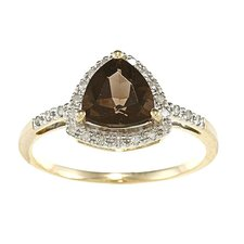 Gold Trillion Cut Gemstone and Diamond Ring