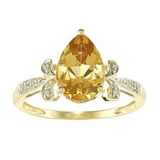 Gold Pear Cut Gemstone and Diamond Ring