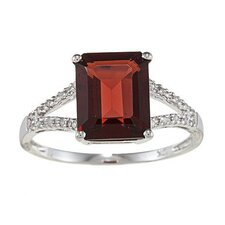 Gold Emerald Cut Gemstone and Diamond Ring