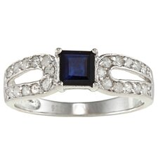 Sterling Silver Genuine Princess Cut Sapphire and Pave Set Diamond Ring