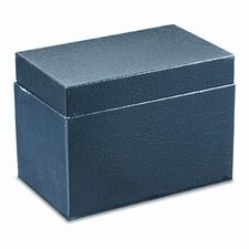 Steel Card File Box with Hinged Lid Holds Approximately 400 4 x 6 Cards, Black