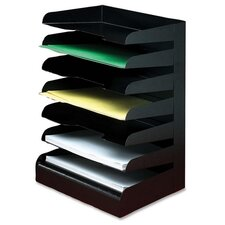 Desktop Organizer, 7 Tier, Letter, Horizontal, Black