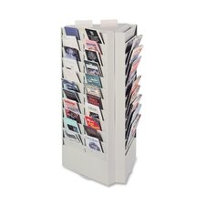 "Rotating Brochure / Pamphlet Display Rack, 33-66 Pockets, 17""x15""x30-3/8"", Platinum"
