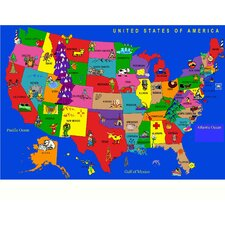 USA Cartoon Map Kids Rug