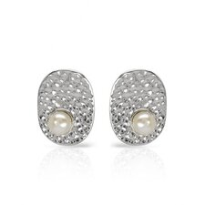 Round Cut Faux Pearls Stud Earring